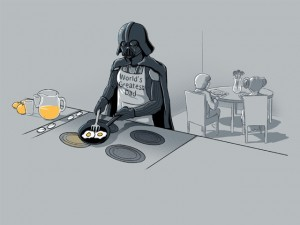 Darth Vader cooking eggs